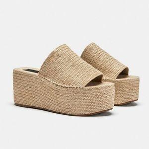 Zara Ecru Jute Sandals Platforms